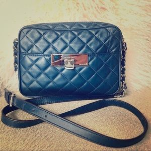 Michael Kors Navy Quilted Susannah Crossbody Bag